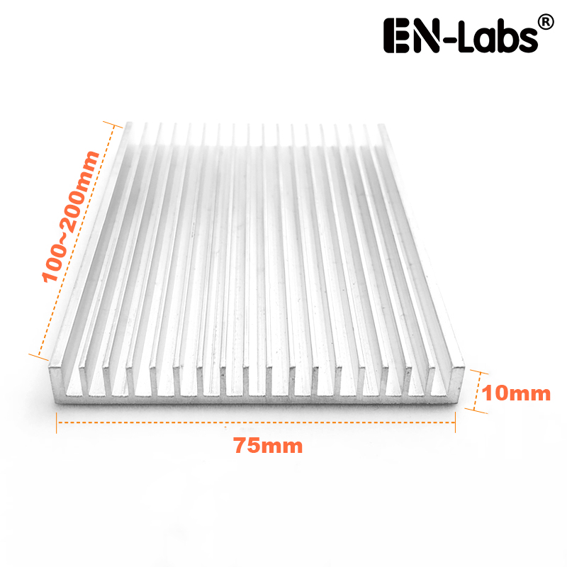 En-Labs 75x10x100/150/200mm Aluminum Heat Sink Radiator Heatsink IC LED Cooling, Electronic Cooler, Chipset heat dissipation radiator aluminum heatsink extruded profile heat sink for electronic chipset l059 new hot
