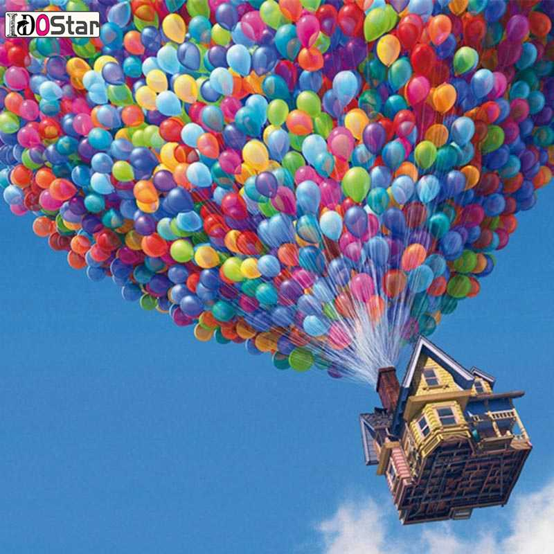 DIY Oil Painting Colorful balloons and house Paint By Number Kit Image Drawing On Canvas By Hand Crafts & Sewing