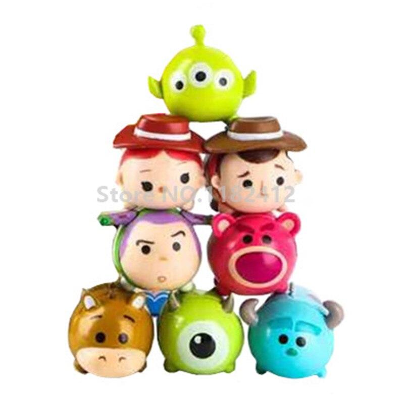 Tsum Tsum Mini Stack Toy Story Set of 8 Figures Woody Jessie Mike Wazowski Sulley Sullivan Bullseye Horse Buzz Lotso Bear Alien toy story bunny toys