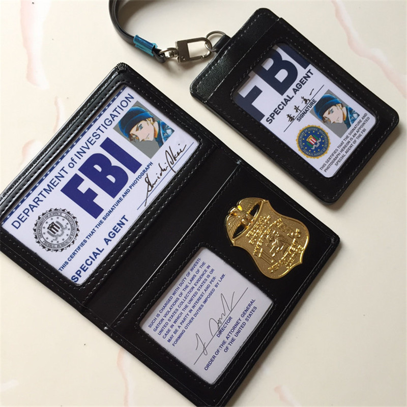 Anime Detective Conan Shuichi Akai Rye Cosplay Metal Badge FBI Documents Leather Case Holder ID Cards Driving Wallets Holder