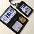 Anime Detective Conan Shuichi Akai Rye Cosplay Metal Badge FBI Documents Leather Case Holder ID Cards Driving Wallets Holder -