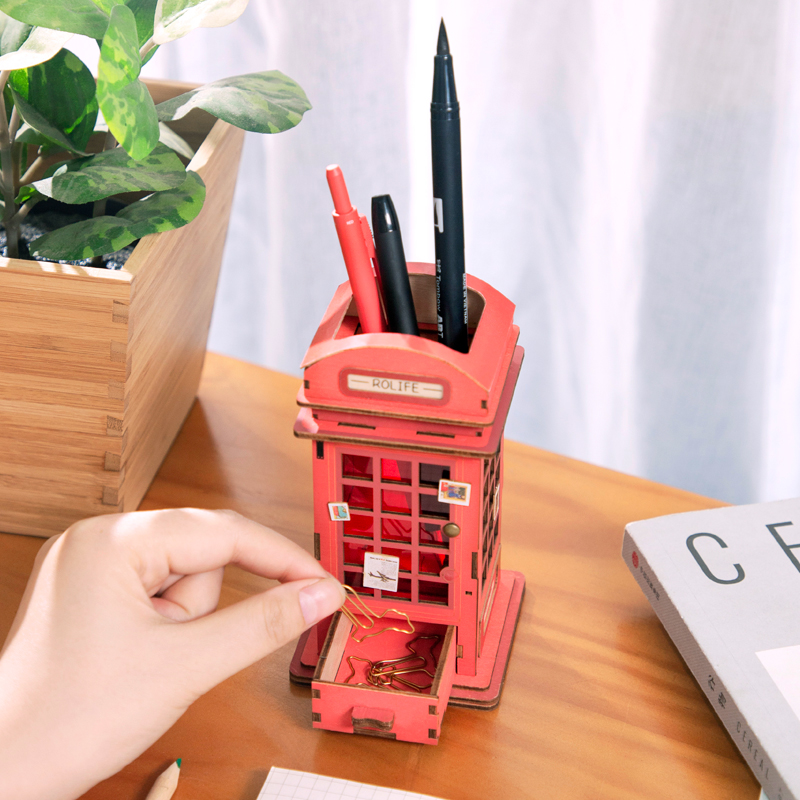 Robotime New Arrival Creative DIY  Phone Booth 3D Penholder Model Building Kits Toy Gift For Child Adult TG13