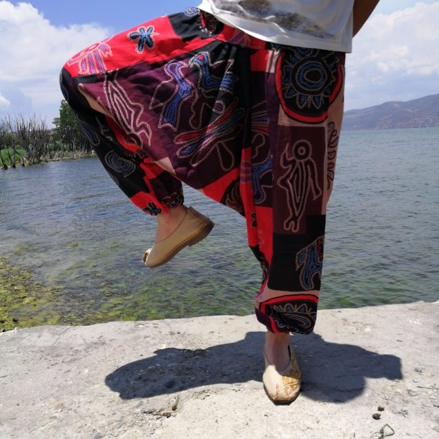 20 Colors Men Causal Flower Print Hippy Baggy Boho Elastic Cross-Pants Loose Trousers Aladdin Wide Leg Cotton Linen Harem Pants 5
