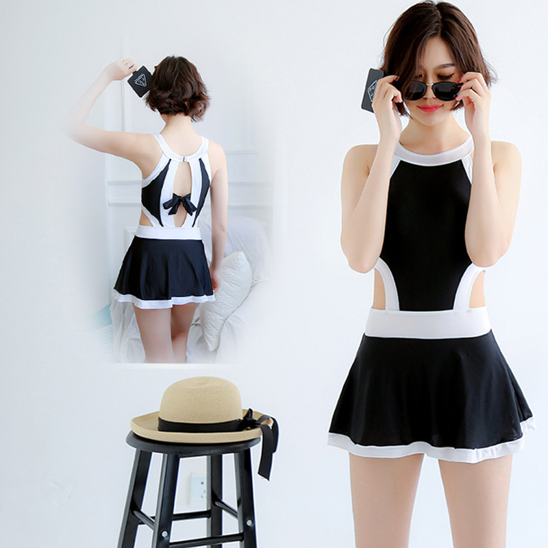 d7645f8ddd9 US $16.33 14% OFF|etekli mayo Korean Swimsuit women cut out Skirted  Swimwear High neck One Piece Swimsuit Skirt white&black beach-in Body Suits  from ...