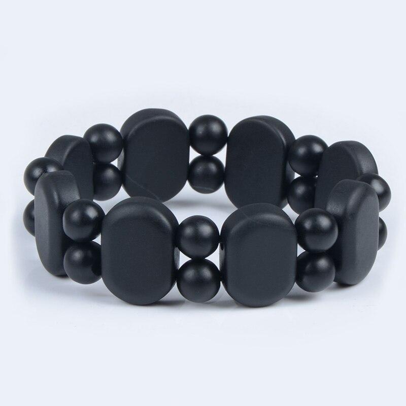 100 Quality Jade Natural Black Bian Stone font b Bracelet b font Carve Black Jade font