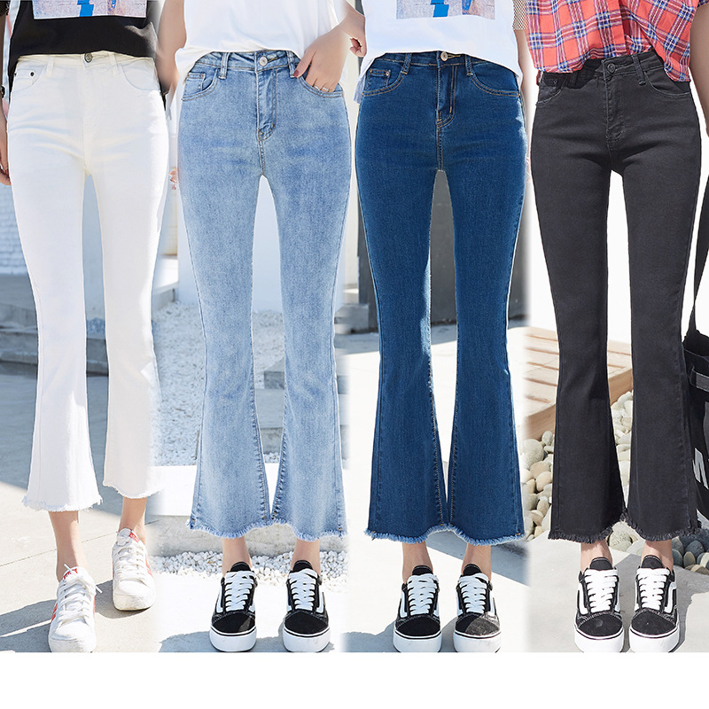 Jeans Women Fashion Sexy High Waisted Skinny Wide Leg Jeans Woman Stretch Slim Ankle Length Flare Jeans Plus Size