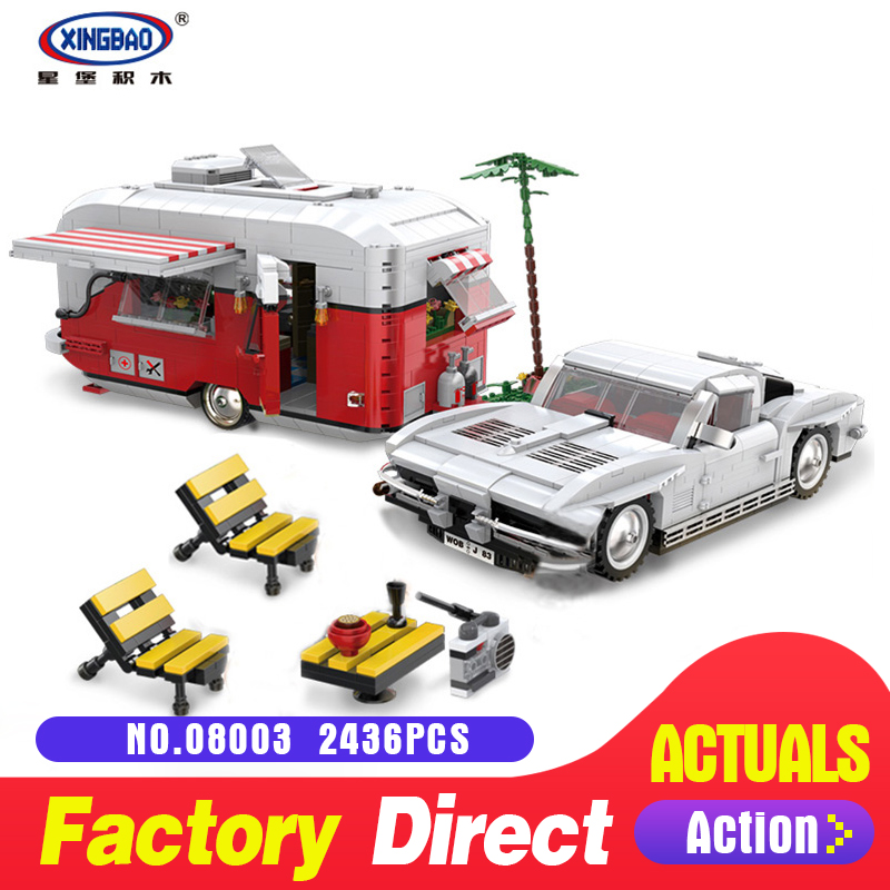 XingBao 08003 2436Pcs New Creative Series The MOC Camper Set Children Educational Building Blocks Bricks Toys for Christmas Gift