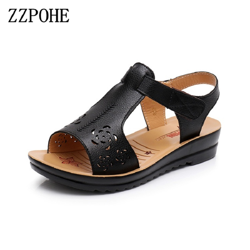 ZZPOHE New Mother Sandals leather soft soles elderly sandals pregnant Women beach Shoes casual shoes Ladies Sandals size 35-41 timetang mother sandals soft leather large size flat sandals summer casual comfortable non slip in the elderly women s shoes