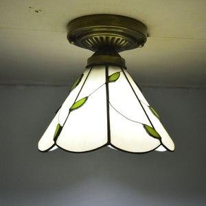 Image 3 - Tiffany потолочный светильник абажур из витражного стекла свежий Кантри Стиль освещение для спальни E27 110 240 В