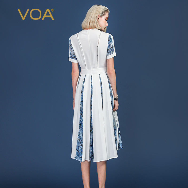 VOA Heavy Silk Pleated Dress Women Long Dresses Plus Size 5XL V Neck Beading Sailor Sweet Cute Print Summer Slim Mid Waist A339 in Dresses from Women 39 s Clothing