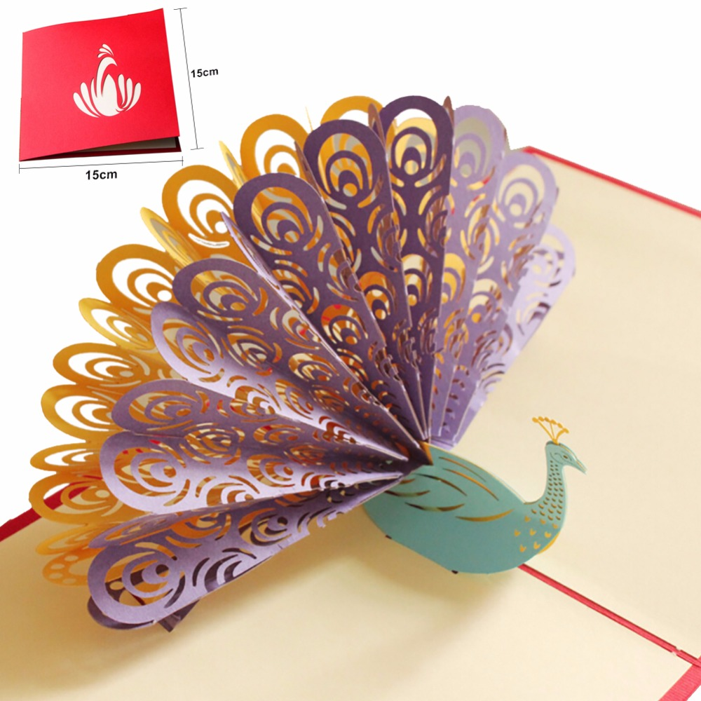 3d Beautiful Peacock Greeting Cards Handmade Paper Personalized