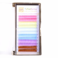 Rainbow Individual Eyelash Extensions Colorful Eyelashes Pink Yellow Green Blue Purple Brown