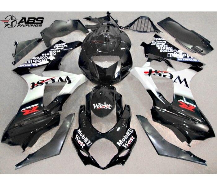 New hot body work parts fairings for Suzuki GSXR1000 k7 k8 black white motorcycle fairing kit GSXR1000 2007 2008 BL100