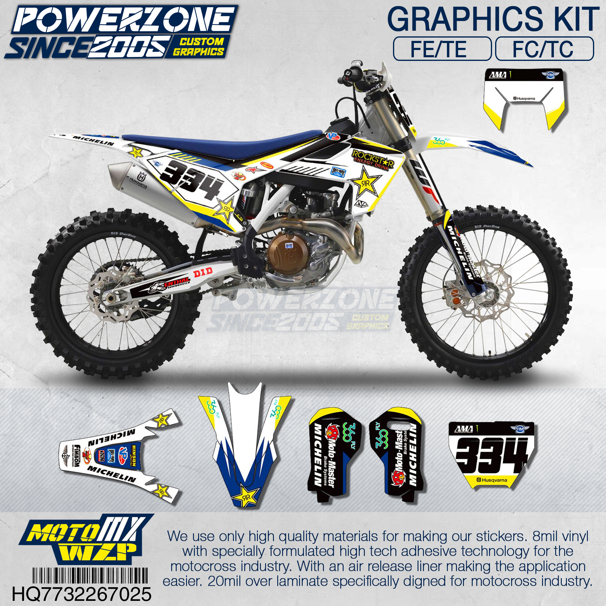 PowerZone Customized Team Graphics Backgrounds Decals 3M Custom Stickers For Husqvarna 2017 To 2019 FE TE FC TC 250 To 500cc 725