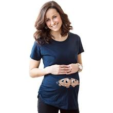 Футболку беременные печатные беременность материнства футболки милый топы ребенок женщины