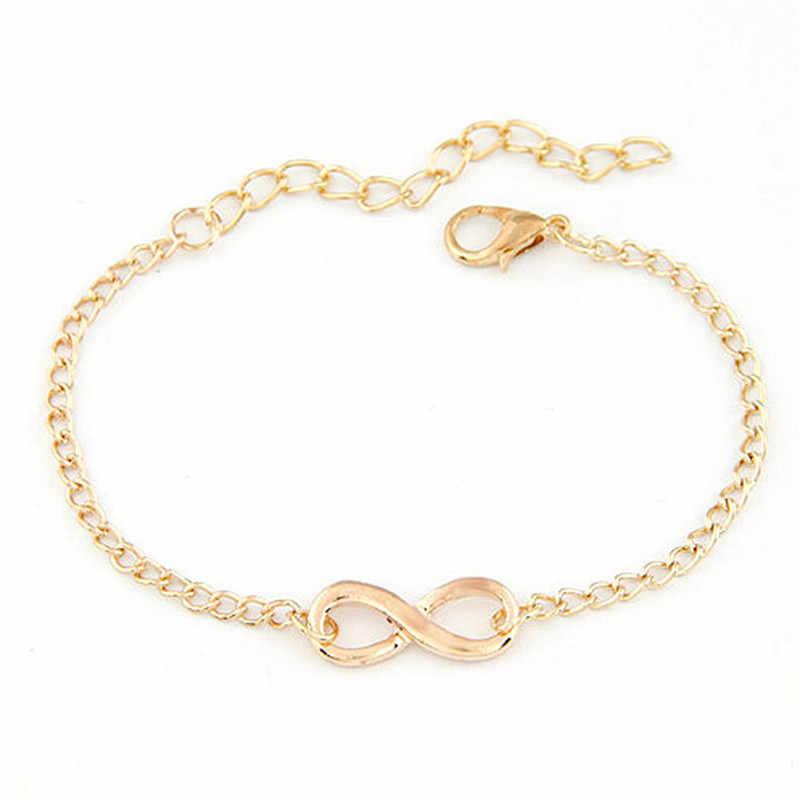 TZ #50 2018 חדש אופנה קישור שרשרת נשים גברים בעבודת יד מתנת קסם 8 צורת תכשיטי אינפיניטי צמיד רסיס ו זהב