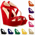 Elegant women Cross Strappy Opne toe cut out hollow faux suede wedge heel high heels sandals pumps thick sole party shoes