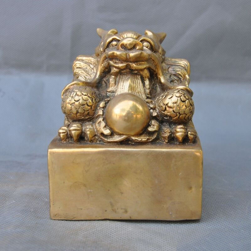 wedding decoration Chinese FengShui Brass Copper Dragon Beast Dynasty imperial Seal Stamp Signetwedding decoration Chinese FengShui Brass Copper Dragon Beast Dynasty imperial Seal Stamp Signet