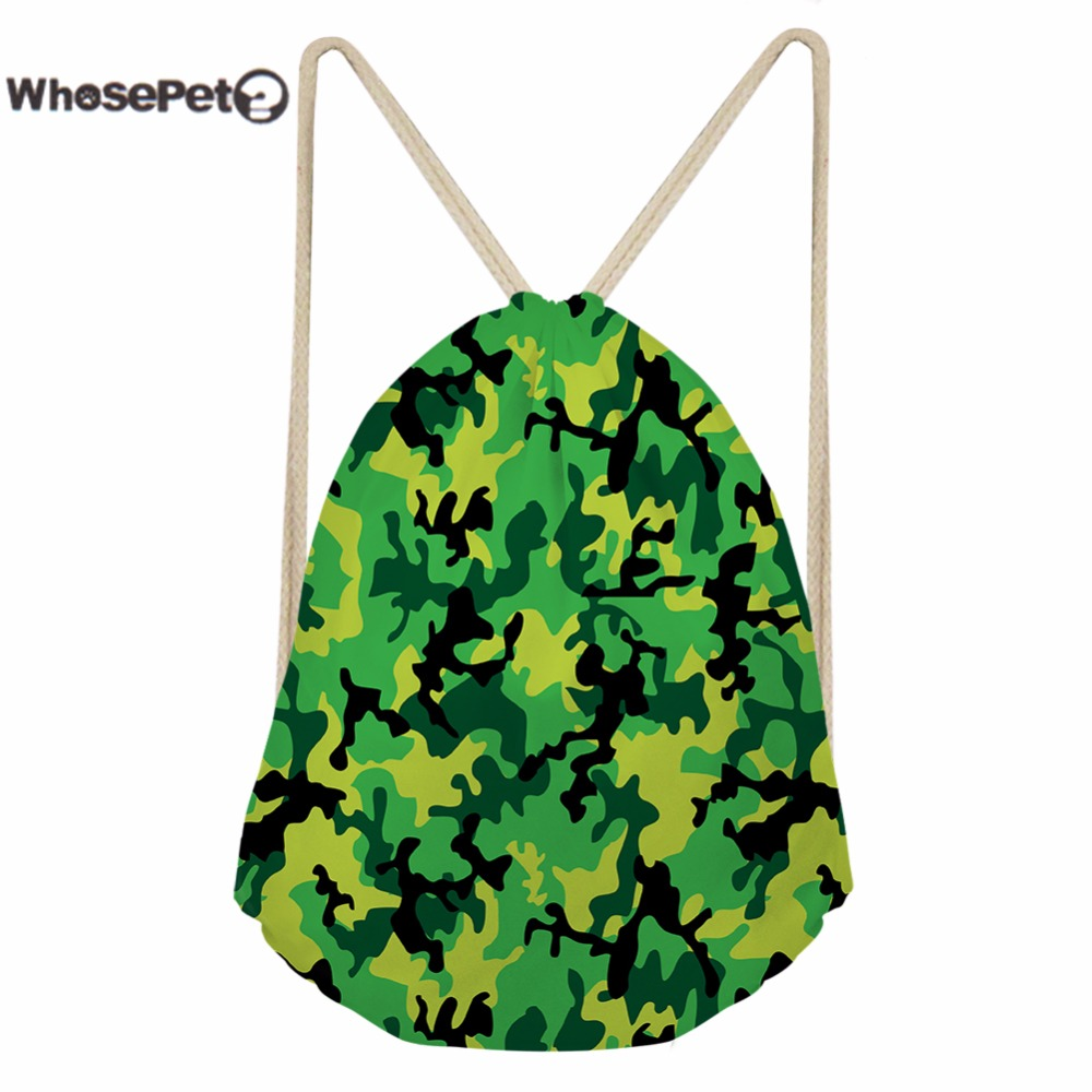 WhosePet Mini Backpack Drawstring Bag Camouflage Pattern Stylish Back Pack Backpacks for Women Shoulder Bags Small Schoolbag