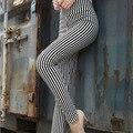 2017 Nueva Primavera Otoño Moda Mujeres Negro Blanco Rayas Verticales Noveno Pantalones de Cintura Alta Elástica Más Tamaño Pantalones Finos Delgados