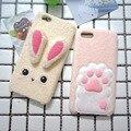 Conejo de peluche corto uña de gato para iphone 7 7 plus 6 6 s 6 plus Caso Suave Tpu Funda Cubierta Cálido y Confortable