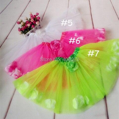frete gratis criancas da petala da flor dance party tulle tutu para as meninas romantico