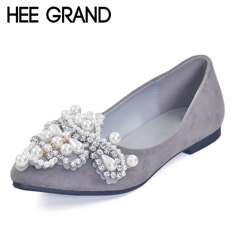 HEE GRAND Pearl Ballet Flats 2017 Crystal Loafers Bling Slip On Platform Shoes Woman Pointed Toe Women Shoes Size 35-43 XWD4960 jingkubu 2017 autumn winter women ballet flats simple sewing warm fur comfort cotton shoes woman loafers slip on size 35 40 w329