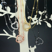 5Pieces, Women Fashion  The Heart Shape CZ Prong Setting Necklace, 5 Plating Colors,Can Mix