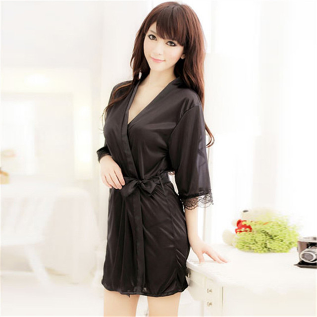Women's Sleepwear ROBE Bathrobes+G-string Thongs  Lingerie Nightdress YO4