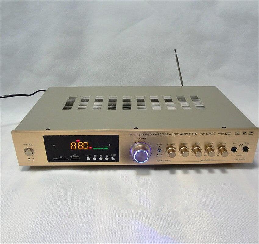 With remote control Bluetooth USB SD FM radio karaoke ok 220V 5 channel 300W + 300W high power HiFi home theater AV amplifier домашний кинотеатр home theater 5 1 bluetooth