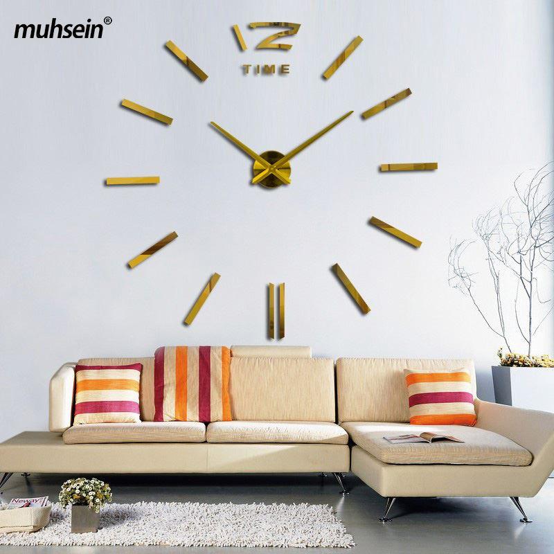 Muhsein Nuovo di Alta Qualità 3D Adesivi Murali di Grandi Dimensioni Moda Creativa Soggiorno Orologi DIY Senza Telaio Orologio Da Parete stile Semplice Spedizione