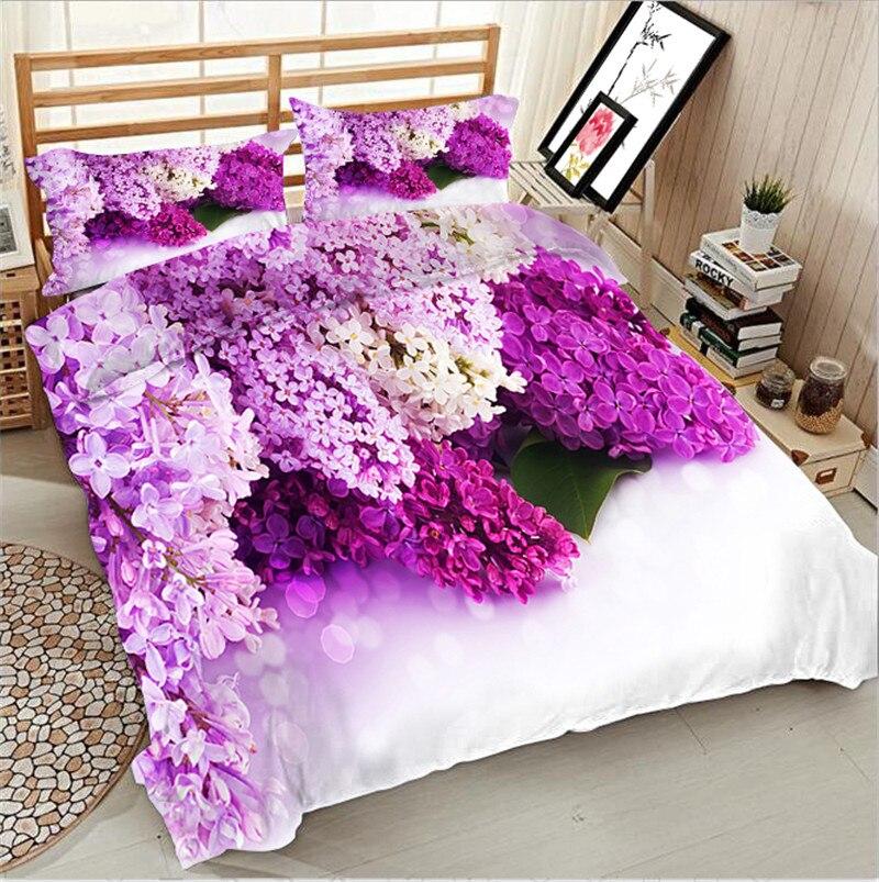 3d Lilacs print full queen king double size bedding set of duvet cover bed sheet pillow cases 4pcs