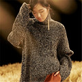 100% hand made pure cashmere knit women fashion turtleneck solid shawl sleeve pullover sweater customized