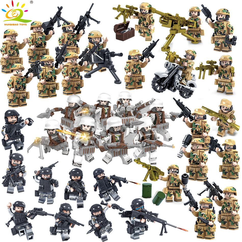 8PCS Military Swat Team Army soldiers With Weapons Guns Figure WW2 World War Blocks Blocks Toys Compatible Legoed City Police фиксатор маховика jtc 4732