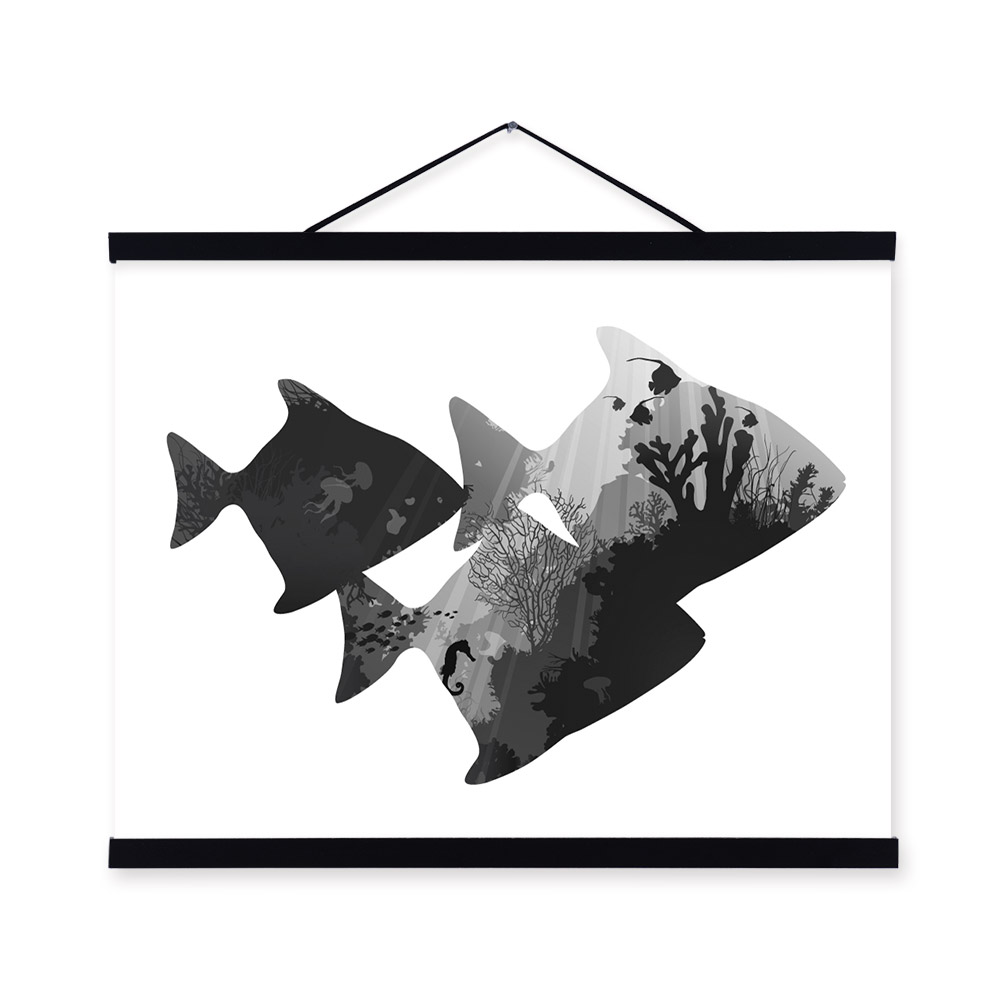Sea Fish Black White Nordic Minimalist Animal <font><b>Hipster</b></font> A4 Framed Canvas Painting Wall Art Prints Picture Poster Hanger <font><b>Home</b></font> <font><b>Decor</b></font>