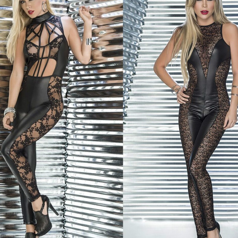 2018 New Sexy Black PU Elastic Faux Leather Lace Bodysuit Hot Zipper Catsuit For Women Jumpsuit