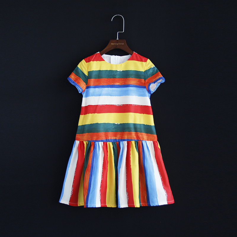 Summer family matching outfit mom & kids girl dress rainbow striped print mum and me clothing short sleeve Aline mermaid dresses striped print color block cami dress