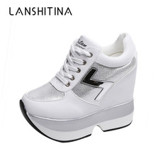 2019 Fashion Womens High Platform Casual Shoes Height Increasi leathe 10 CM Thick Sole Trainers Lady White Sneakers