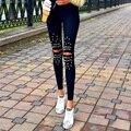 Mujeres de La Manera Muchachas Encantadoras Sheathy Palazzo Pantalones de Cintura Alta Delgada Elástico Rocío Largos hasta la Rodilla Pantalones Casuales Leggings