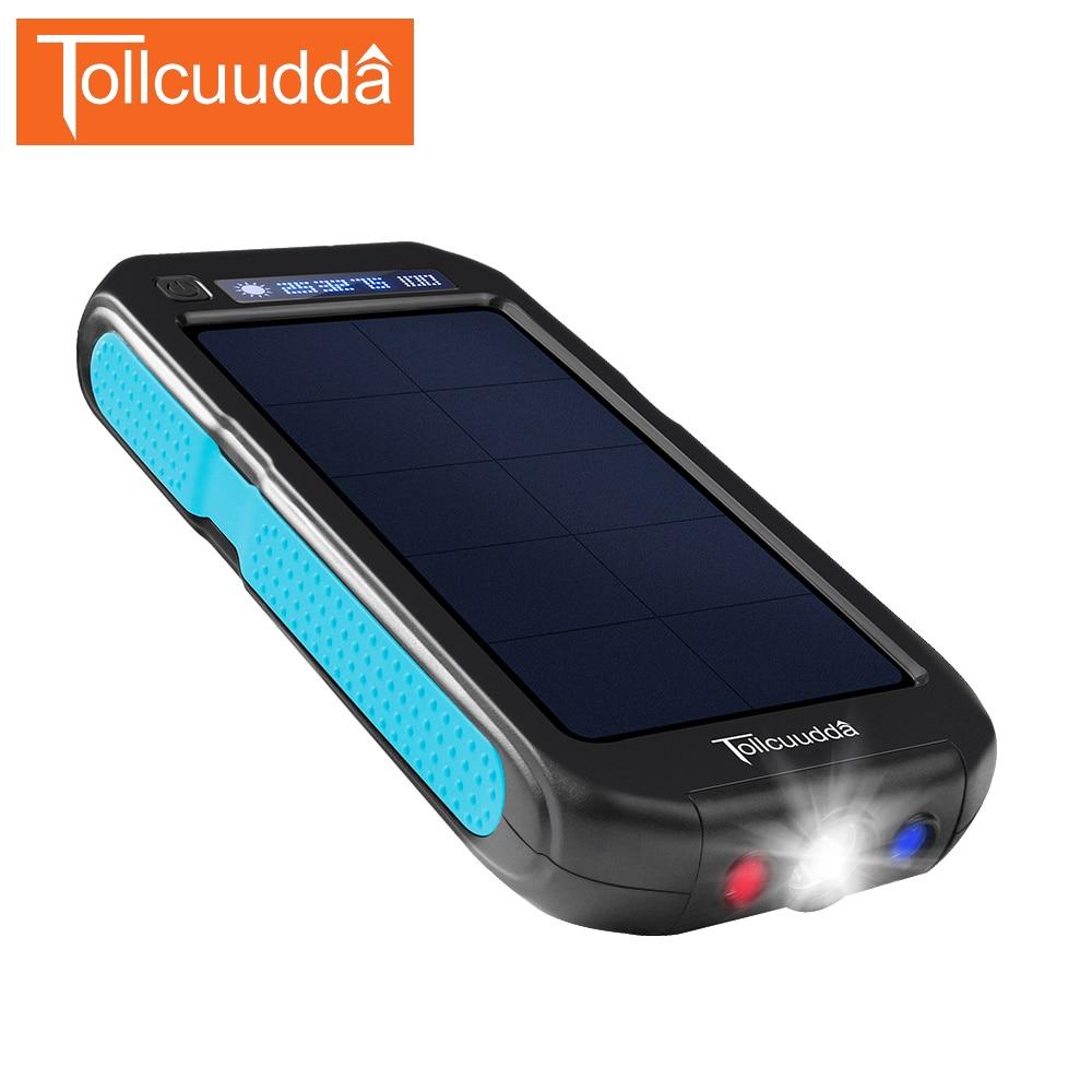 imágenes para Tollcuudda 12000 mah Banco de la Energía Solar A Prueba de agua 2 USB Portátil mi Teléfono Poverbank paquete externo de la Batería con 3 LED de luz al aire libre