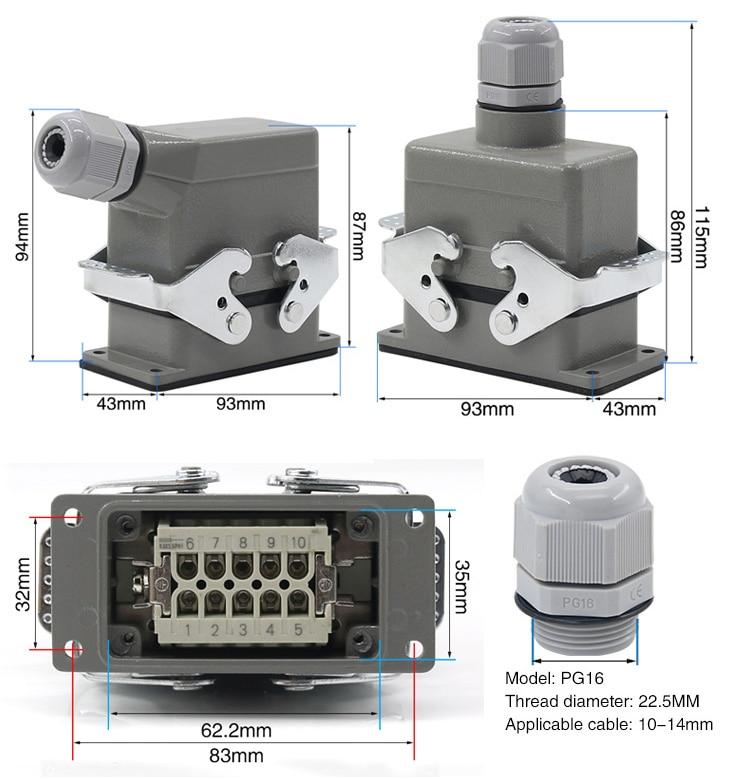 Conector resistente retangular hdc-he-4 6 10 16