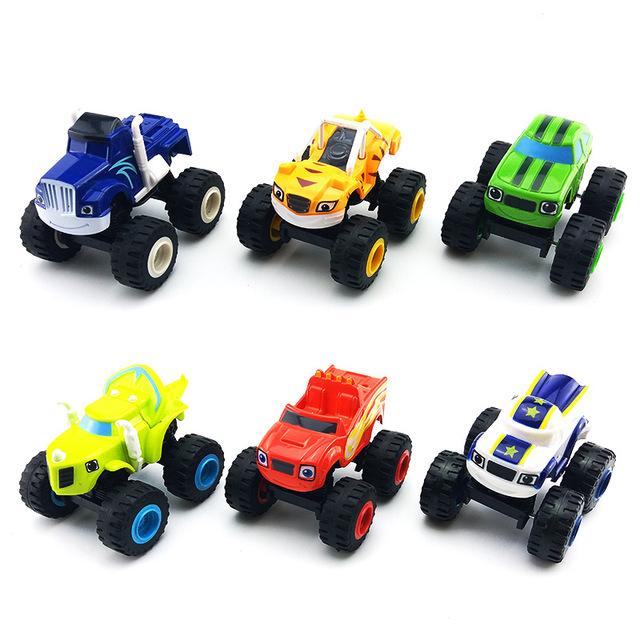 6pcs/Set Blazed Machines Car Toys Russian Miracle Crusher Truck Vehicles Figure Blazed Toys For Children Kids Birthday Gifts