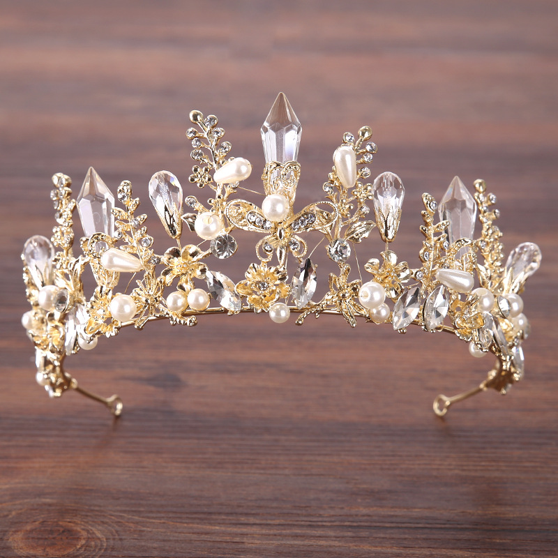 Luxury Big Crystal Bridal Crown Tiaras Golden Color Flower Charm Rhinestone Pearl for Bride Headbands Wedding Hair Accessories Luxury Big Crystal Bridal Crown Tiaras Golden Color Flower Charm Rhinestone Pearl for Bride Headbands Wedding Hair Accessories
