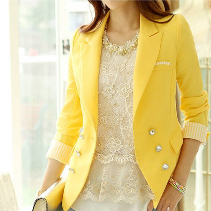 Female Blazers 2015 new long sleeve Slim women's blazer white ...