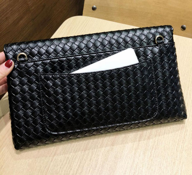 Weaved Envelope Clutch Chain Handbags for Ladies