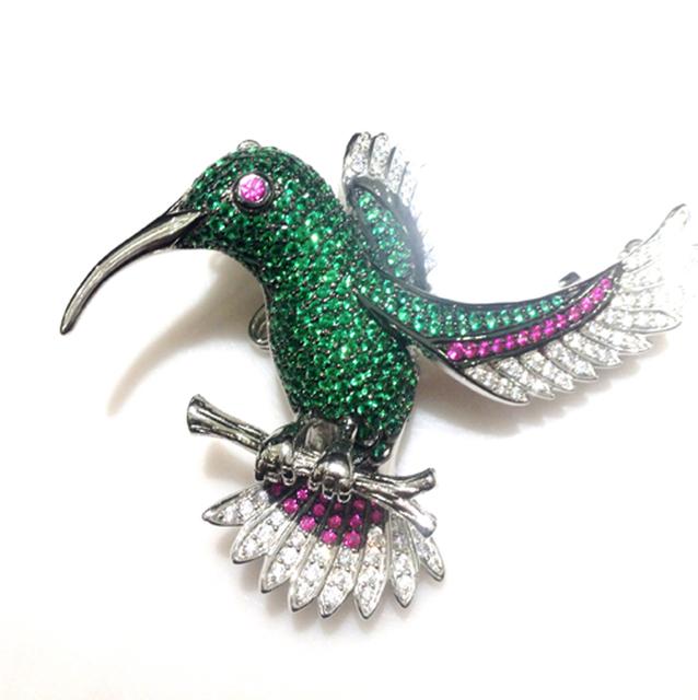 Verde pássaro broche jóias fecho de bloqueio duplo uso prata com cubic zircon moda feminina jóias frete grátis