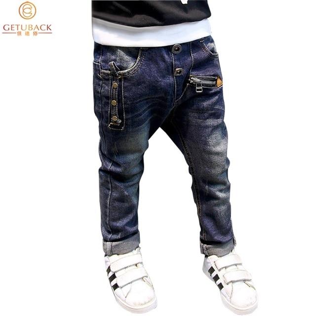 Fashion Boys Jeans for Spring Fall Children's Denim Trousers Kids Dark Blue Designed Pants