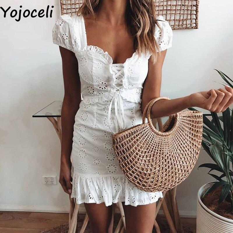 Yojoceli элегантное кружевное Цветочное платье с рюшами женское летнее кружевное короткое Повседневное платье женские сексуальные мини вечерние пляжные платья