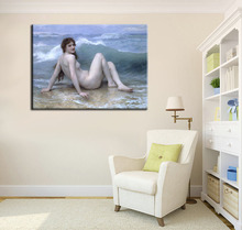 William Bouguereau Nude Canvas Print RePro The Wave posters portrait picture classical Wall Art Imagich For Living Room