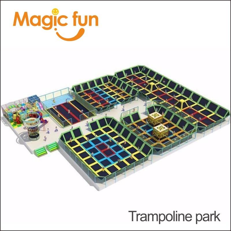 Magie FUN nouvelle grande aventure commerciale américaine Ninja Course intérieure en plastique aire de jeux équipement avec parc de Trampoline